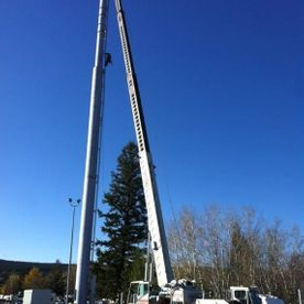 60 ton crane installing communication tower in 100 mile house bc