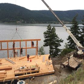 Timber frame home assembly in Williams lake BC